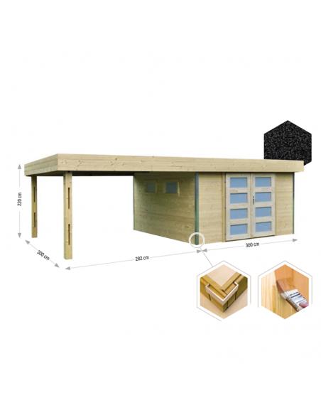 Caseta de madera con porche Lounj