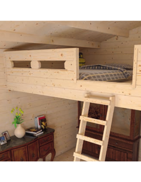 Caseta de madera Jasmin con buhardilla