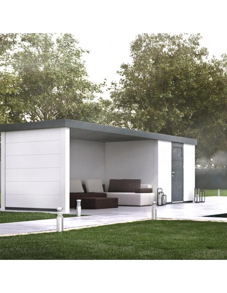 Caseta de jardín de metal NH4 con porche cerrado