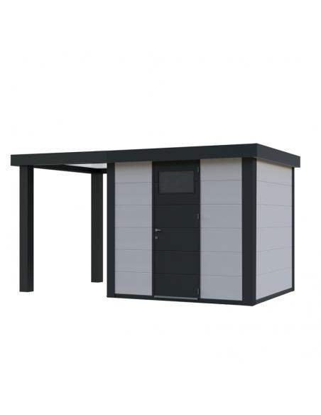 Caseta de jardín de metal NH4 con porche pequeño abierto